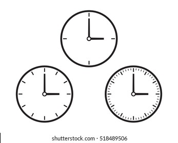 Three simple clock dials, grayscale on white background