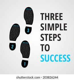 Three simple foot steps to success concept for layout, brochure,web design or presentation in vector.