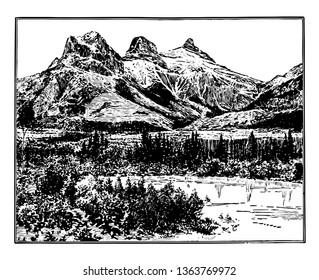 Three sisiters are three peak ranges of mountains that can be seen from anywhere in Canmore. These are big sister, middle sister and little sister vintage line drawing.