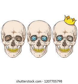 Three skulls. Golden teeth, crown.