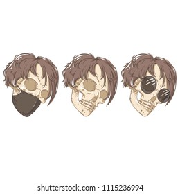 Three skulls. Mask and glasses.