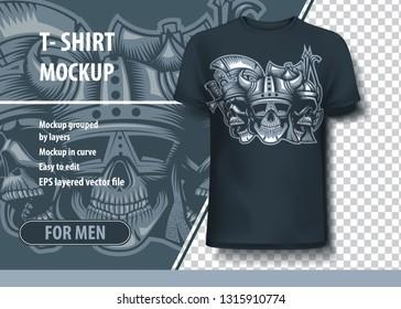 Three skulls, roman, barbarian and Slav .T-Shirt template