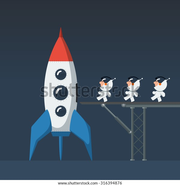Three small funny astronauts crew on metal bridge loaded into the rocket and preparing to start. Flat style vector illustration.
