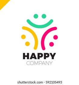 Three Smile People Logo - Happy Community icon