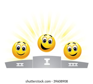 Three smiley balls in the winners podium