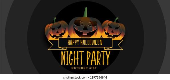 three smiling halloween pumpkin party banner design