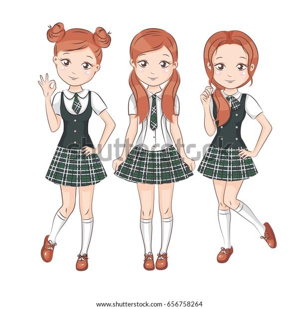 Three Smiling Happy Girlfriends School Uniform Arkistovektori