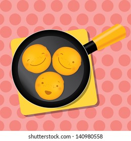 Three smiling mini pancakes on a pan for breakfast. Mardi gras or Fat Tuesday picture