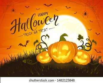 Three smiling pumpkins and lettering Happy Halloween on orange background with moon. Holiday card with Jack O Lanterns, bats and spiders. Illustration can be used for holiday cards  and banners.