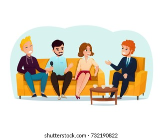 Three smiling talk show participants sitting on yellow sofa cartoon vector illustration