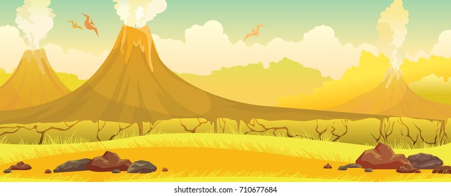 Three smoking volcanoes with lava, yellow grass and silhouette of pterodactyls on a blue sky. Prehistoric nature landscape. Vector illustration.