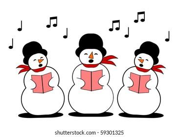 three snowman singing christmas carol
