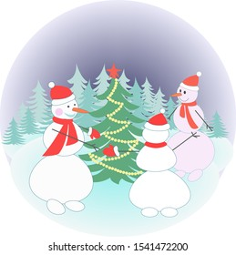 three snowmen in a clearing lead a dance around the Christmas tree