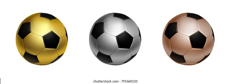 Three soccer football ball in gold, silver and bronze for first second and third awards, isolated on the white background vector illustration.