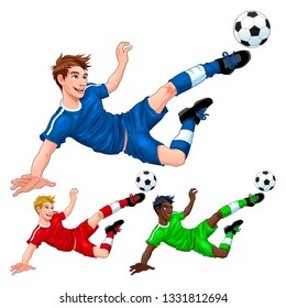 Three soccer players with different hair, skin and dress colors. Vector cartoon isolated characters