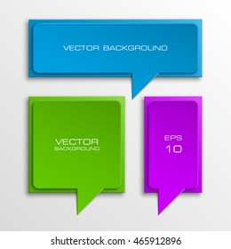 Three speech bubbles. Abstract vector banner. Design shape. Rectangle form.