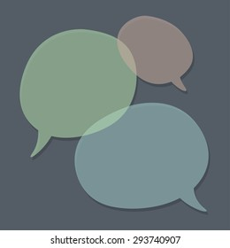 Three speech bubbles on grey background. Abstract templates. Green, pink and blue objects.