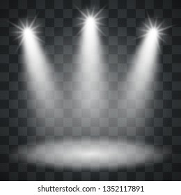 Three Spotlights Template on Checker Background. Light Background. Vector Illustration.
