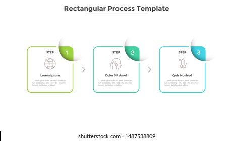 Three square elements placed in horizontal row and connected by arrows. Diagram representing 3 stages of business process. Simple infographic design template. Vector illustration for presentation.