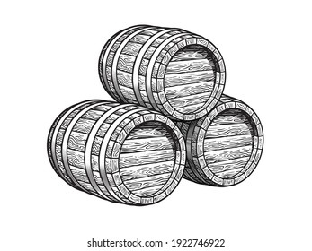 Three stacked wooden barrels for beer, wine, whisky, rum and other alcohol. Vintage monochrome wood casks. Hand drawn engraving style illustrations isolated on white background.