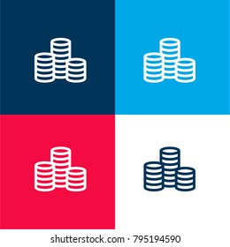 Three Stacks of Coins four color material and minimal icon logo set in red and blue