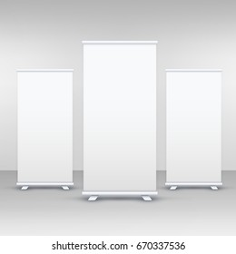 three standee or rollup banner display mockup