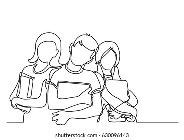 three standing school kids with books - continuous line drawing