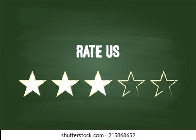 Three Star Feedback Rate Us On Green Blackboard