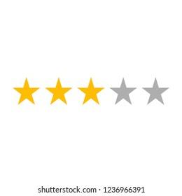 Three Star Rating Icon Vector