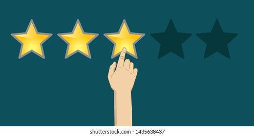 three stars rating, hand pointing finger, vector illustration