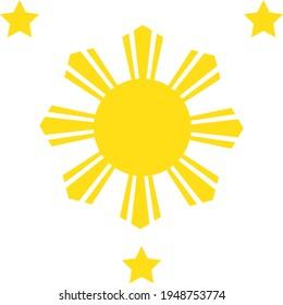 Three stars and a sun vector illustration.