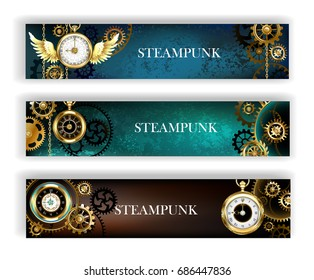 Three steampunk banner adorned with gold jewelry watches and bronze gears on turquoise and brown background.