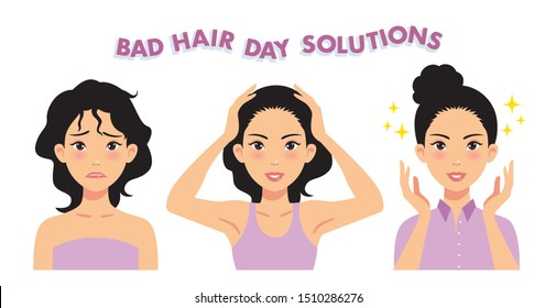 Three step Solution of Bad Hair Day. Vector Illustration