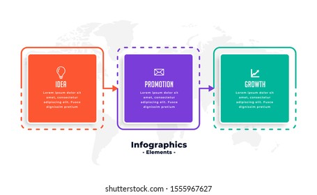 three steps business infographics template design