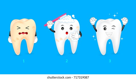 Three steps of cleaning tooth. Cartoon character design, before and after. Whitening teeth, dental care concept.  Illustration isolated on blue background.