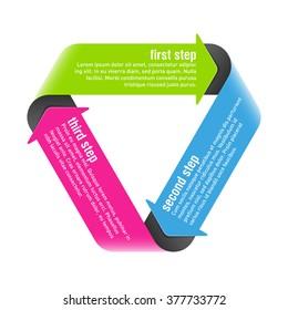 Three steps process arrows design element. Vector.
