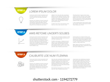 Three steps / product choice or versions template with bookmarks
