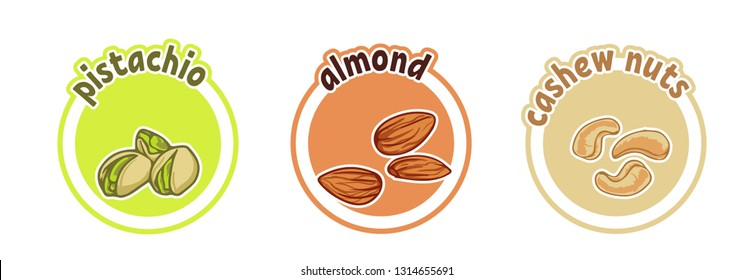 Three stickers with different nuts. Pistachio, almond and cashew. Vector cartoon illustration isolated on a white background.