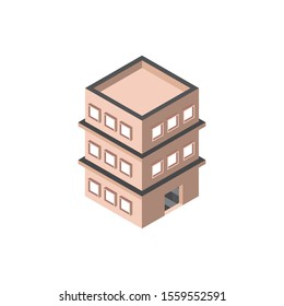 three story building private isometric style vector illustration
