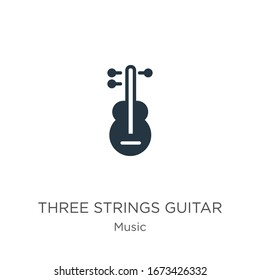 Three strings guitar icon vector. Trendy flat three strings guitar icon from music collection isolated on white background. Vector illustration can be used for web and mobile graphic design, logo,