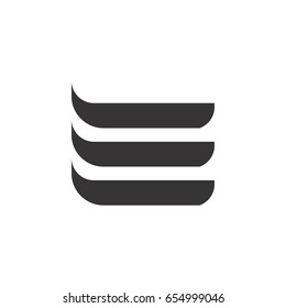 three strip letter e logo