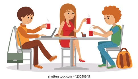 Three students talking friendly at coffee shop while drinking beverages and using laptop, vector illustration isolated on white background.