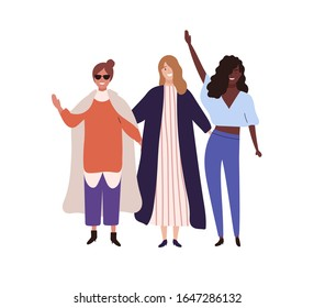 Three stylish happy girl raising hands vector flat illustration. Group of fashionable female friends smiling isolated on white background. Trendy woman standing together having fun