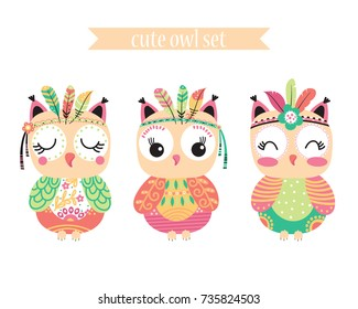 Three stylized tribal cartoon owls isolated on white background. Vector illustration.