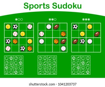 Three sudoku puzzle grids of different levels of difficulty from easy to hard with cartoon sports balls over green and solutions below as educational entertainment for kids - vector illustration