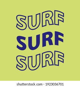Three surf word with green background