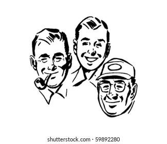 Three Swell Guys - Retro Clip Art