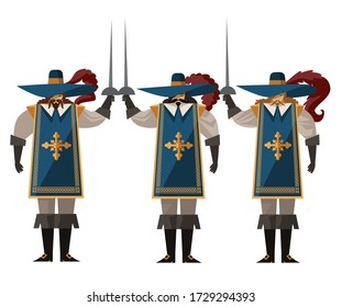 three sword warrior musketeers with hats