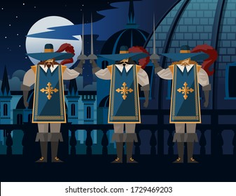 three sword wearing musketeers with hats
