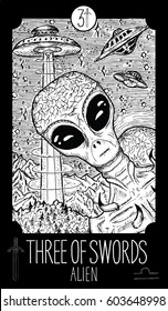 Three of swords. Alien. Minor Arcana Tarot card. Fantasy line art illustration. Engraved vector drawing. See all collection in my portfolio set
